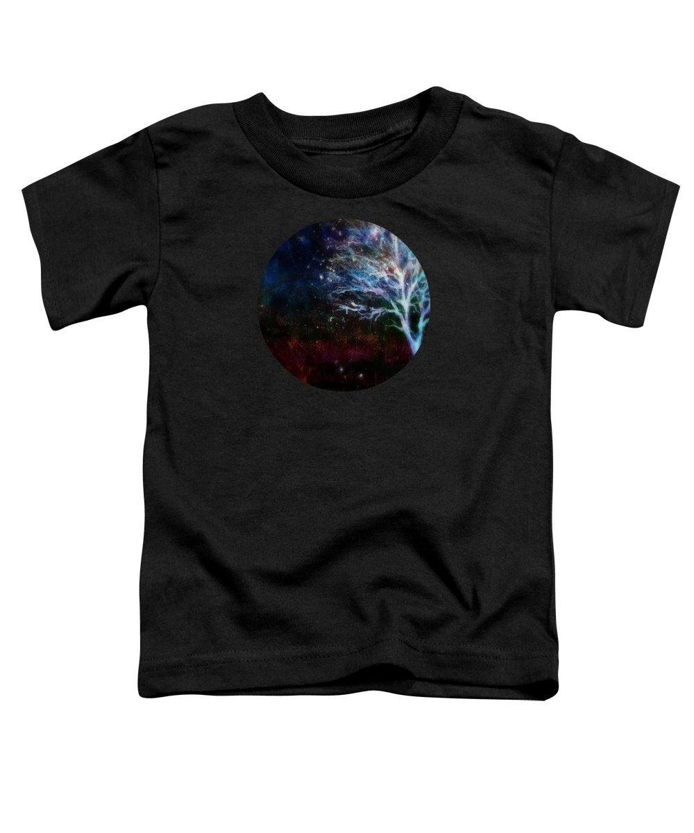 Landscape Toddler T-Shirt featuring the painting Snow At Twilight by Mary Wolf