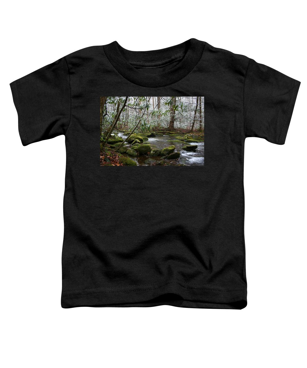 River Stream Creek Water Nature Rock Rocks Tree Trees Winter Snow Peaceful White Green Flowing Flow Toddler T-Shirt featuring the photograph Soothing by Andrei Shliakhau