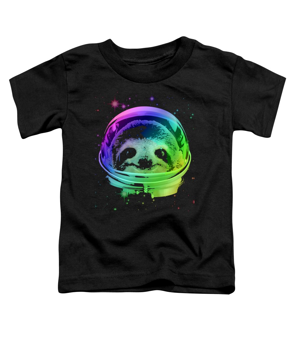 Sloth Toddler T-Shirt featuring the mixed media Space Sloth by Filip Hellman