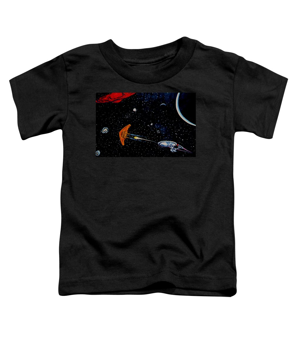 Startrel.scoemce Foxopm.s[ace.[;amets.stars Toddler T-Shirt featuring the painting Startrek by Stan Hamilton