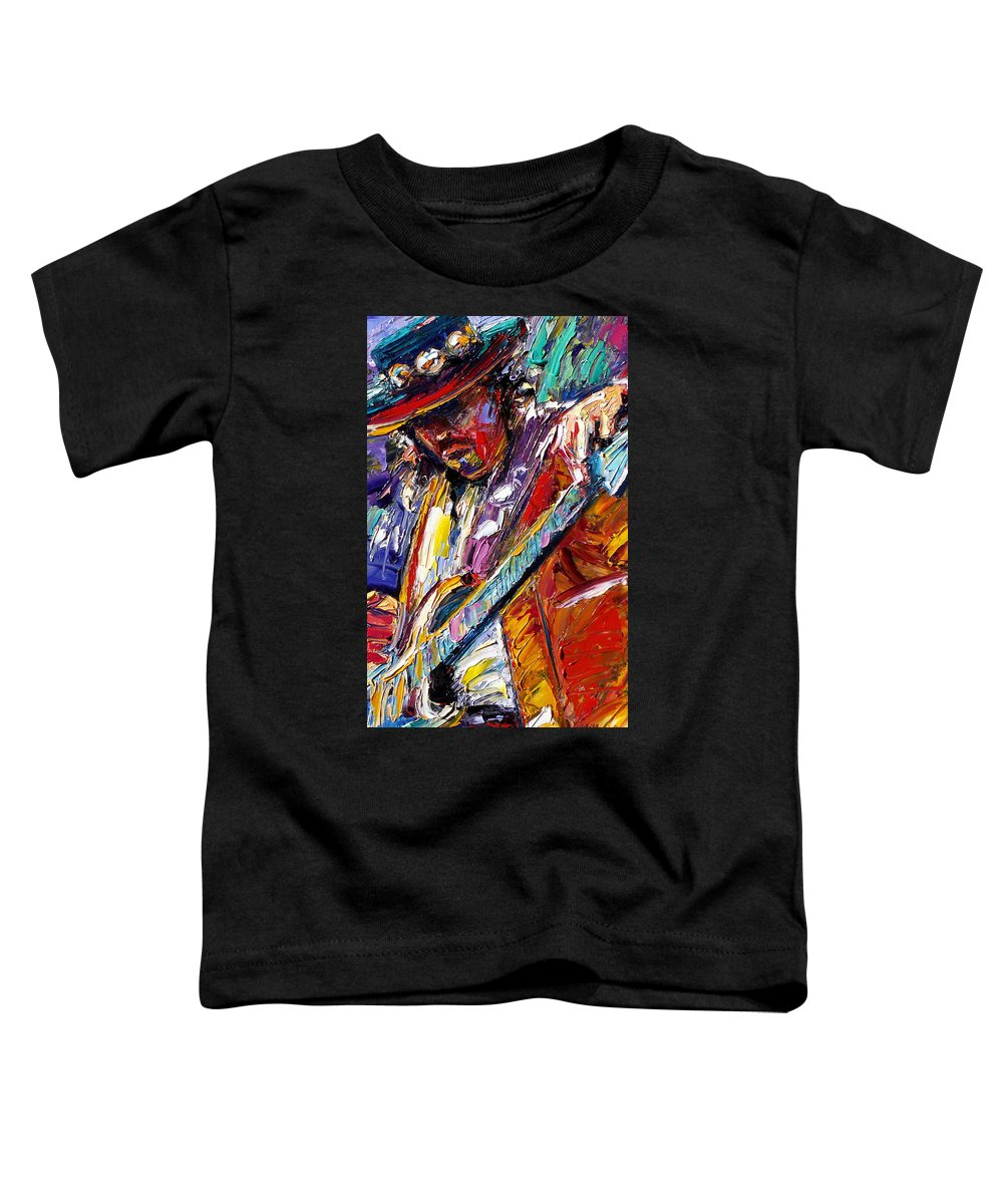 Rock Toddler T-Shirt featuring the painting Stevie Ray Vaughan Number One by Debra Hurd