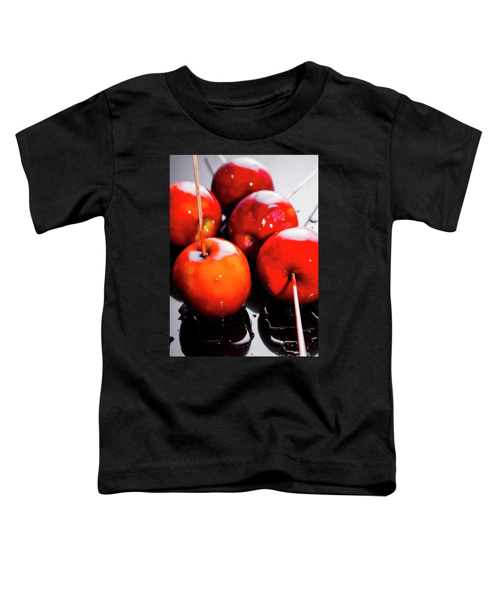 Halloween Toddler T-Shirt featuring the photograph Sticky Red Toffee Apple Childhood Treat by Jorgo Photography - Wall Art Gallery