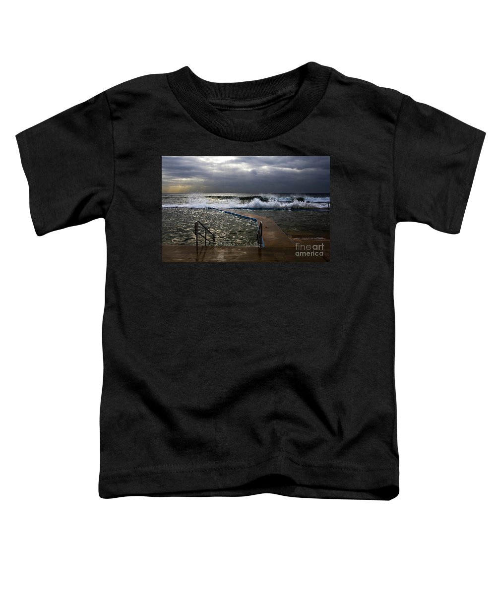 Storm Clouds Collaroy Beach Australia Toddler T-Shirt featuring the photograph Stormy Morning At Collaroy by Avalon Fine Art Photography