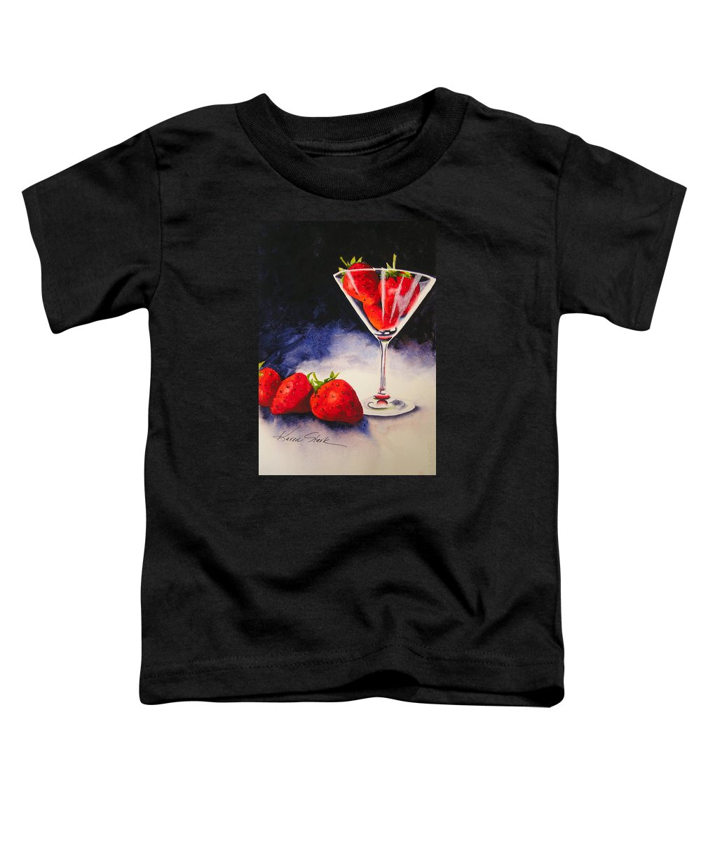 Strawberry Toddler T-Shirt featuring the painting Strawberrytini by Karen Stark