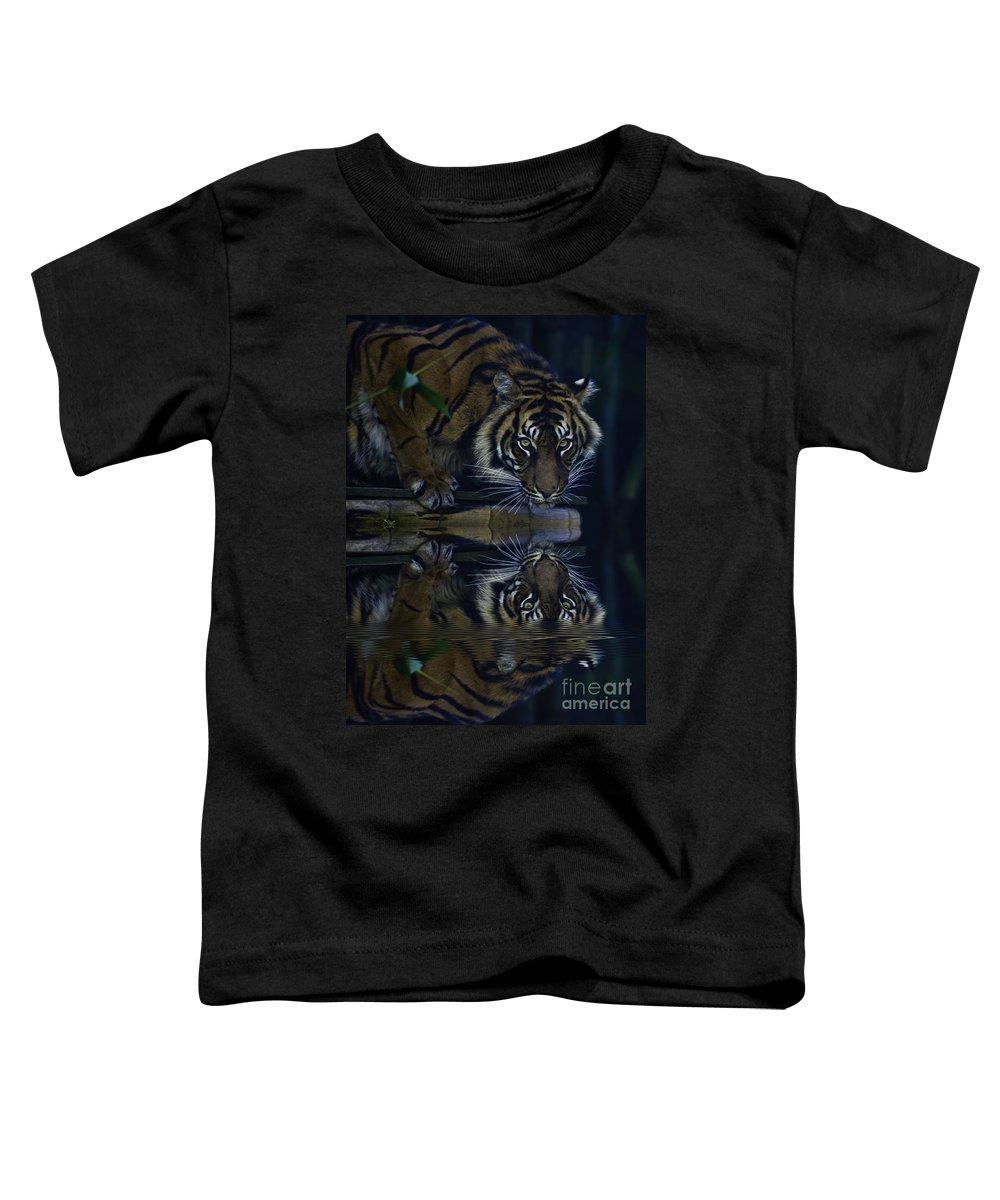 Sumatran Tiger Toddler T-Shirt featuring the photograph Sumatran Tiger Reflection by Sheila Smart Fine Art Photography