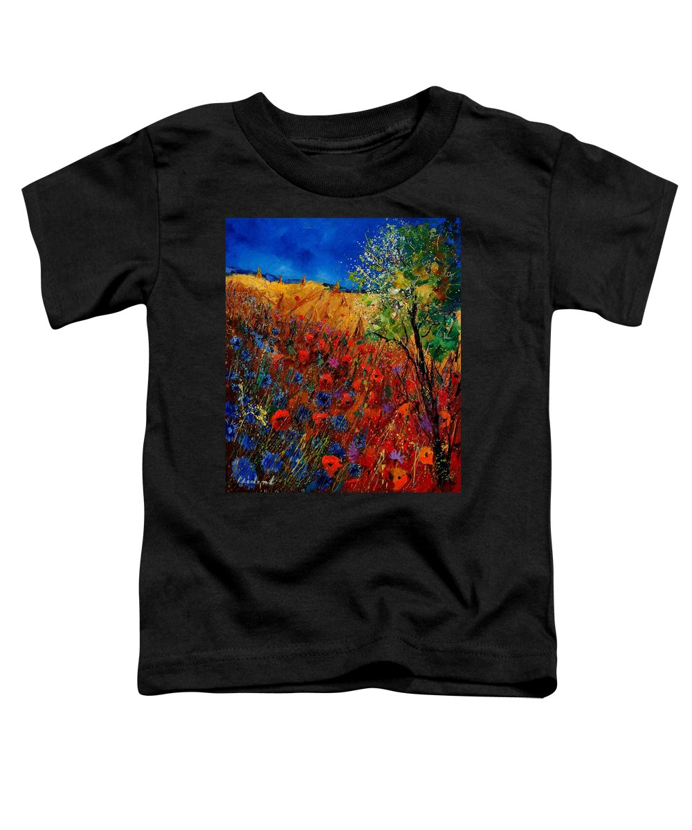 Flowers Toddler T-Shirt featuring the painting Summer Landscape With Poppies by Pol Ledent