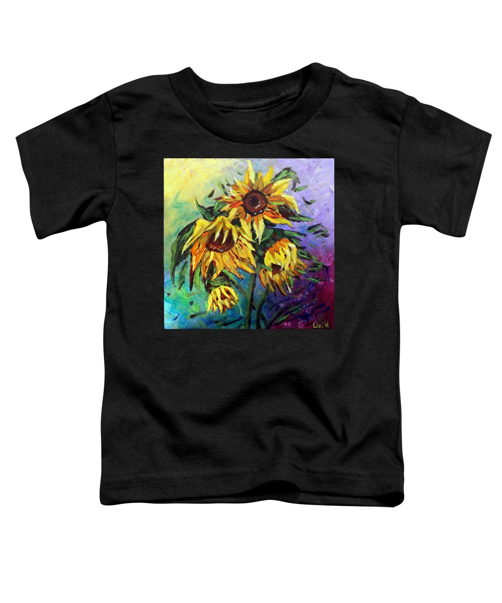 Art Toddler T-Shirt featuring the painting Sunflowers In The Rain by Luiza Vizoli