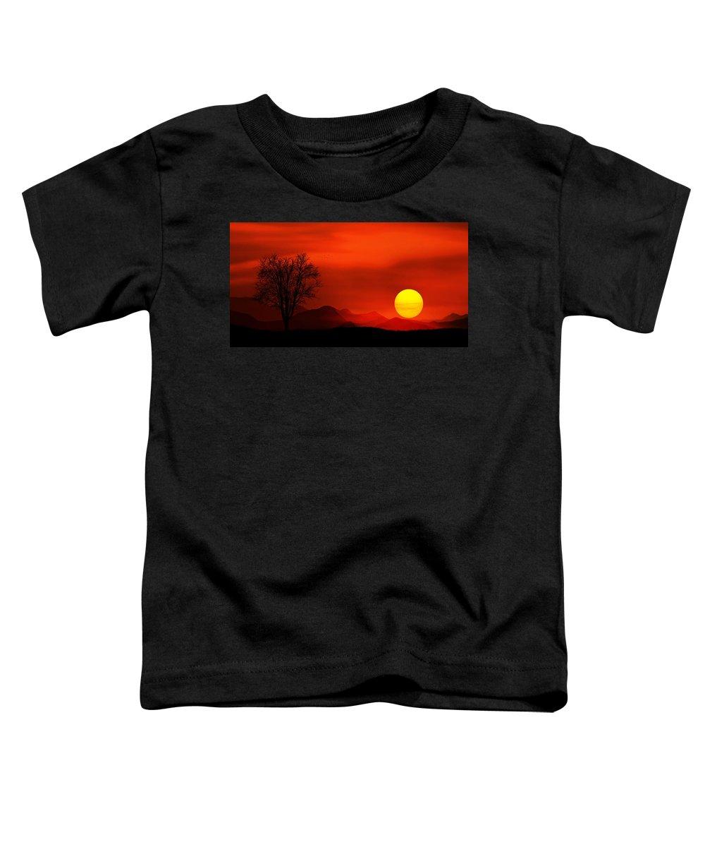 Sunlight Toddler T-Shirt featuring the photograph Sunset by Bess Hamiti