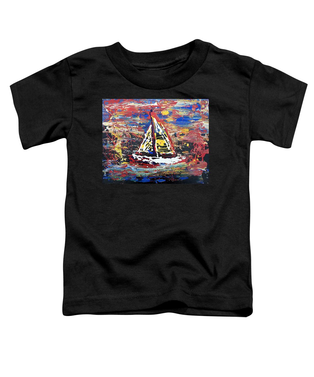 Sailboat Toddler T-Shirt featuring the painting Sunset On The Lake by J R Seymour