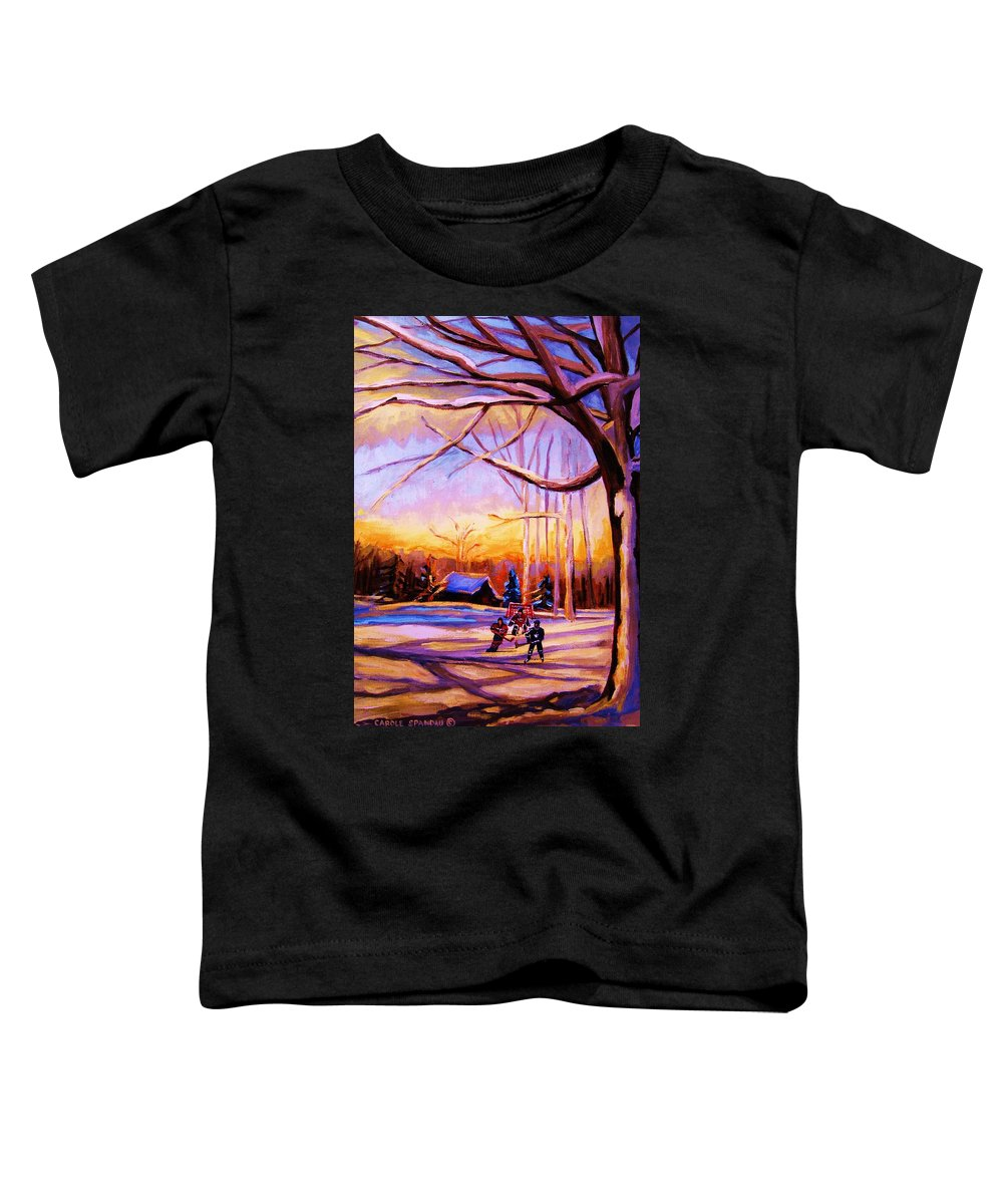Sunset Over Hockey Toddler T-Shirt featuring the painting Sunset Over The Hockey Game by Carole Spandau