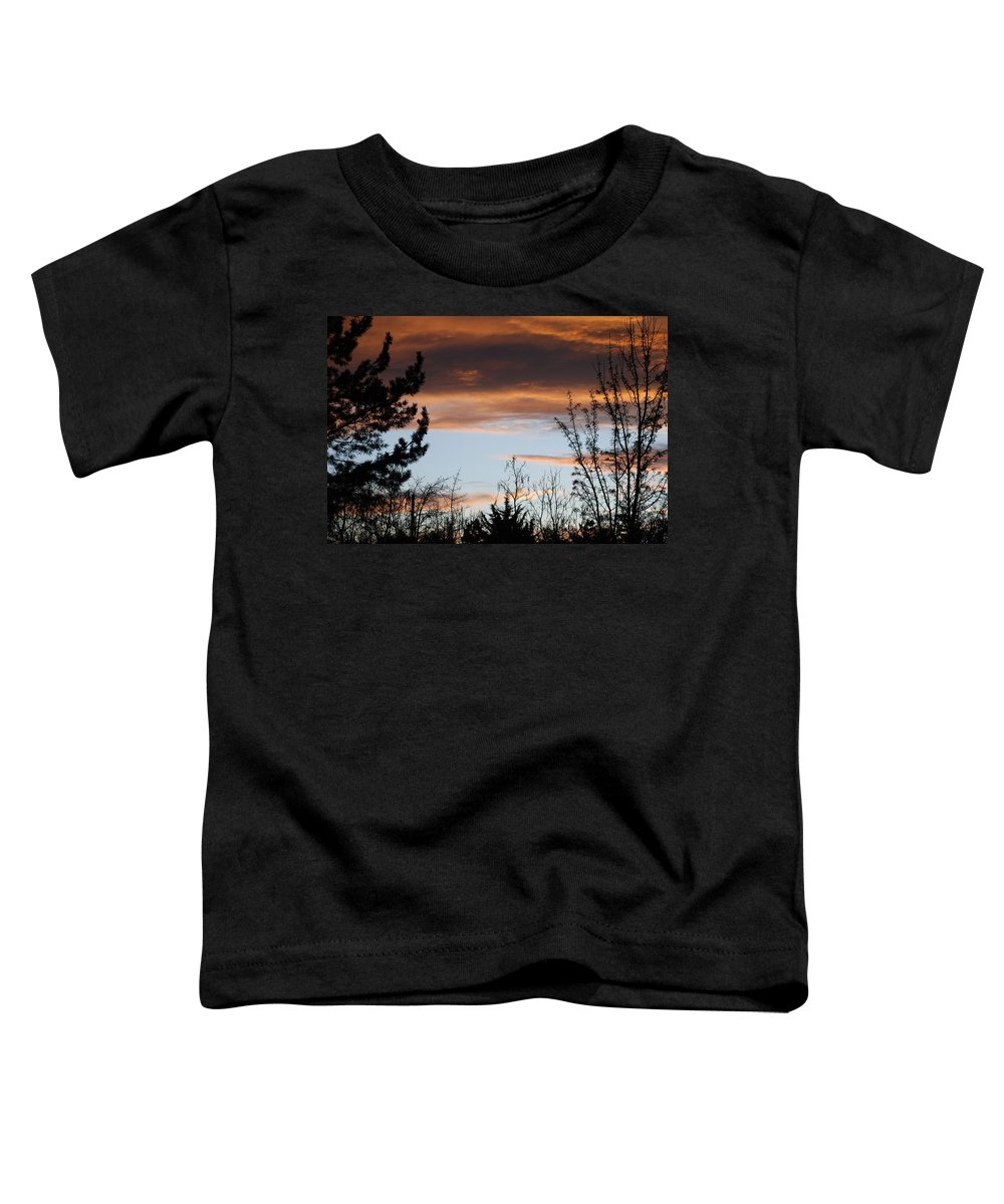 Sunset Toddler T-Shirt featuring the photograph Sunset Thru The Trees by Rob Hans