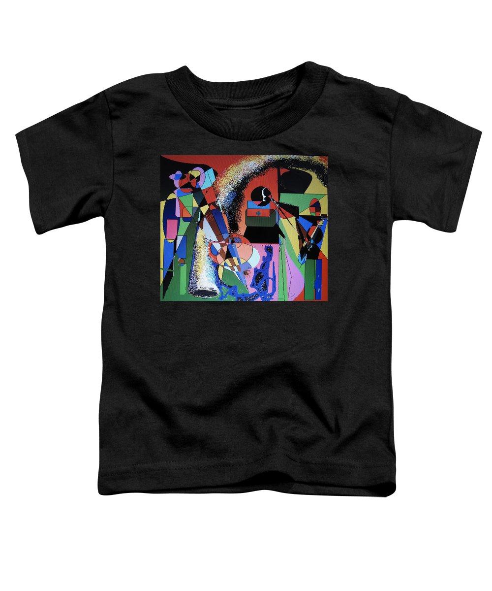 Jazz Toddler T-Shirt featuring the digital art Swinging Trio by Ian MacDonald
