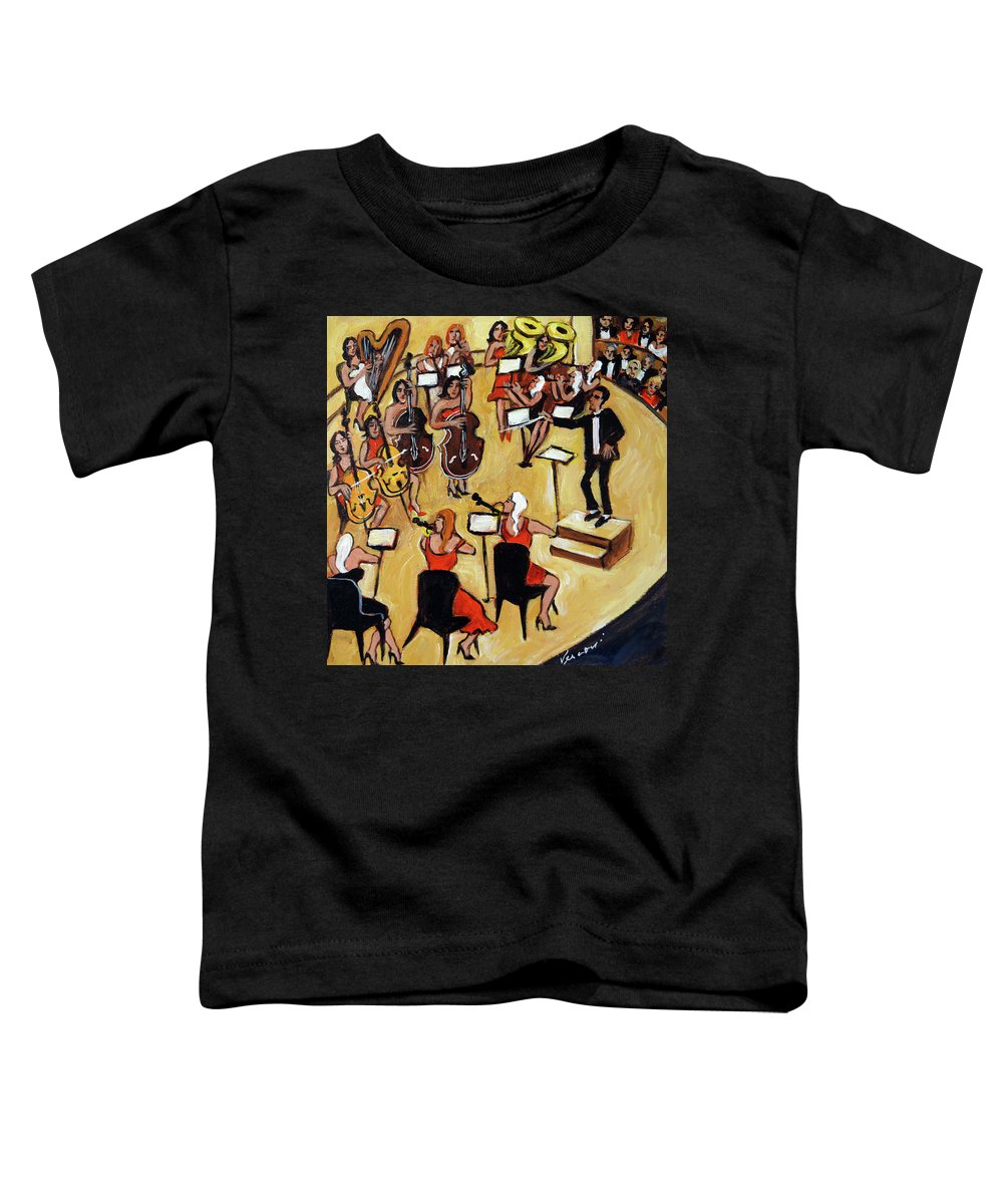 Carnegie Hall Orchestra Toddler T-Shirt featuring the painting Symphony by Valerie Vescovi