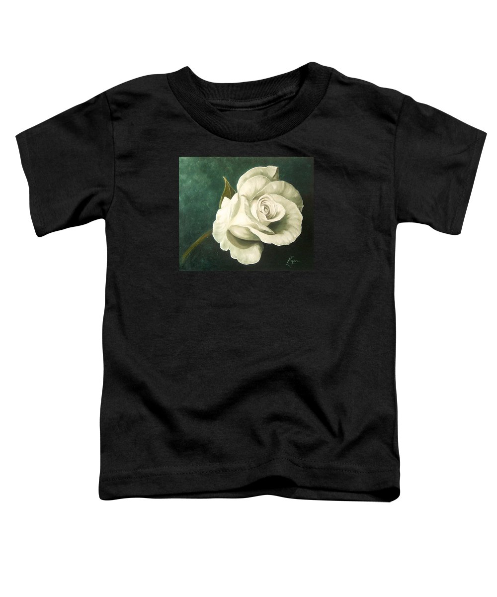 Rose Flower Still Life White Toddler T-Shirt featuring the painting Tea Rose by Natalia Tejera