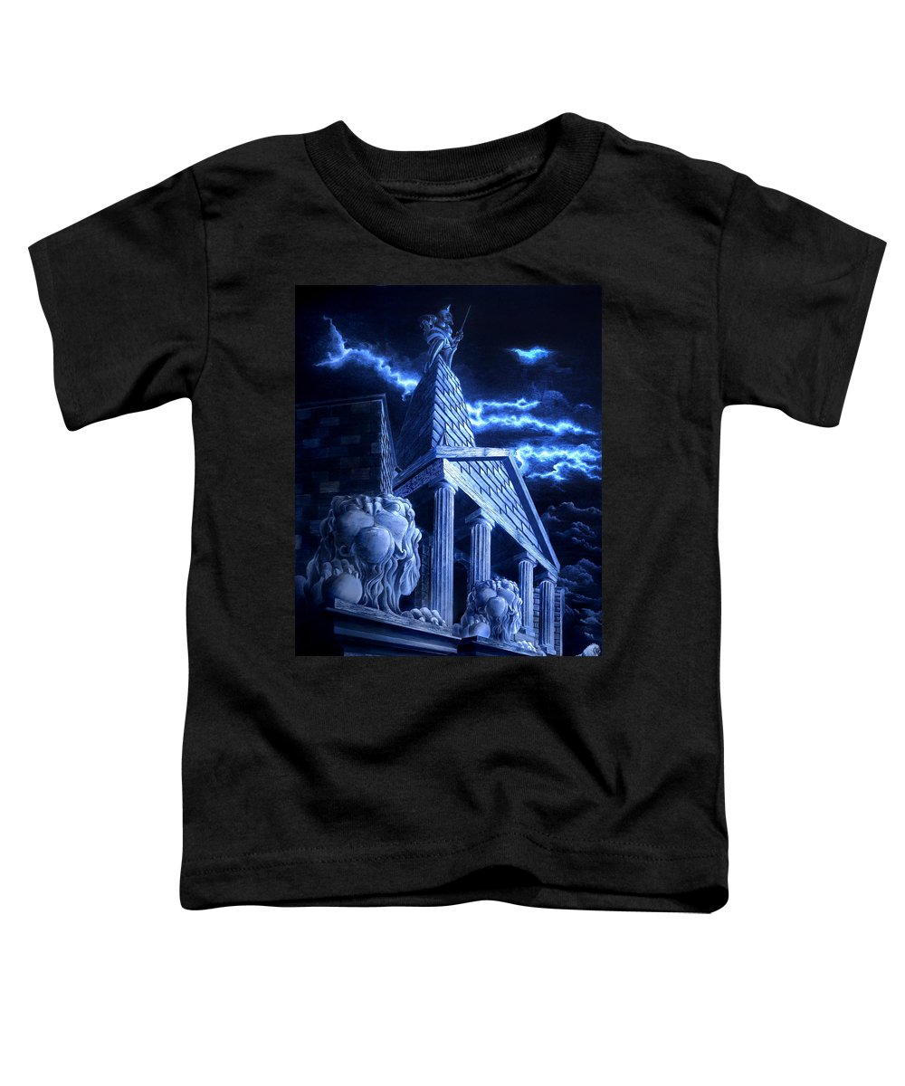 Hercules Toddler T-Shirt featuring the drawing Temple Of Hercules In Kassel by Curtiss Shaffer