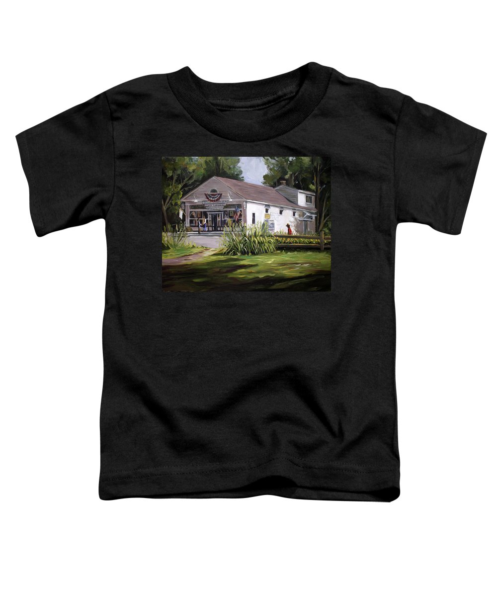 Buildings Toddler T-Shirt featuring the painting The Country Store by Nancy Griswold
