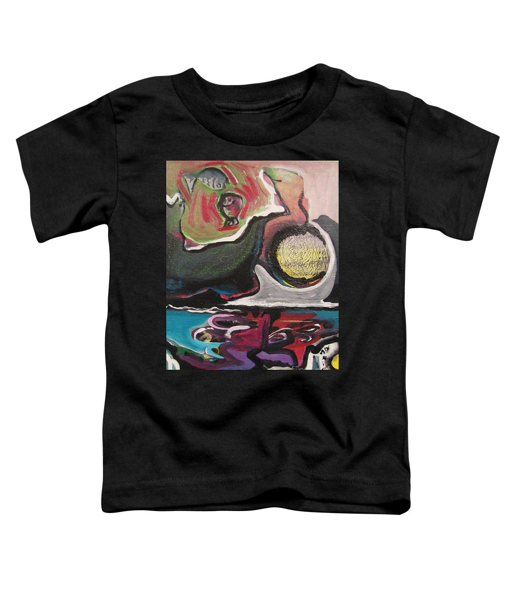 Abstract Paintings Toddler T-Shirt featuring the painting The Full Moon2 by Seon-Jeong Kim