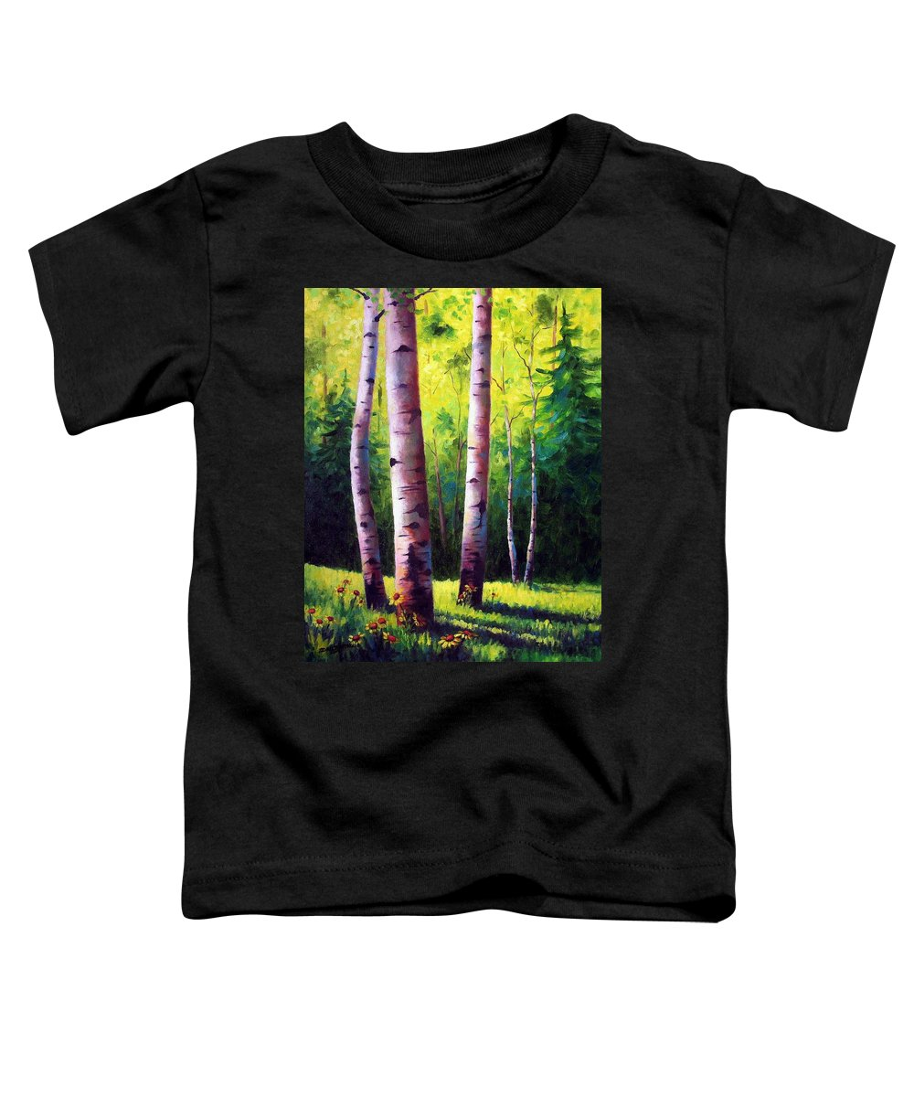 Aspen Toddler T-Shirt featuring the painting The Light Of Spring by David G Paul