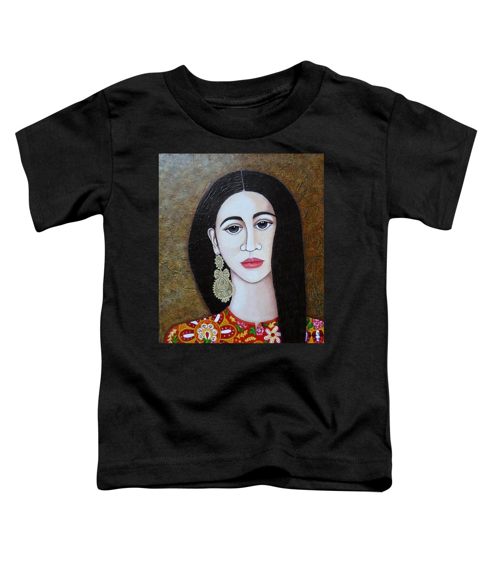 Woman Toddler T-Shirt featuring the painting The Portuguese Earring 2 by Madalena Lobao-Tello