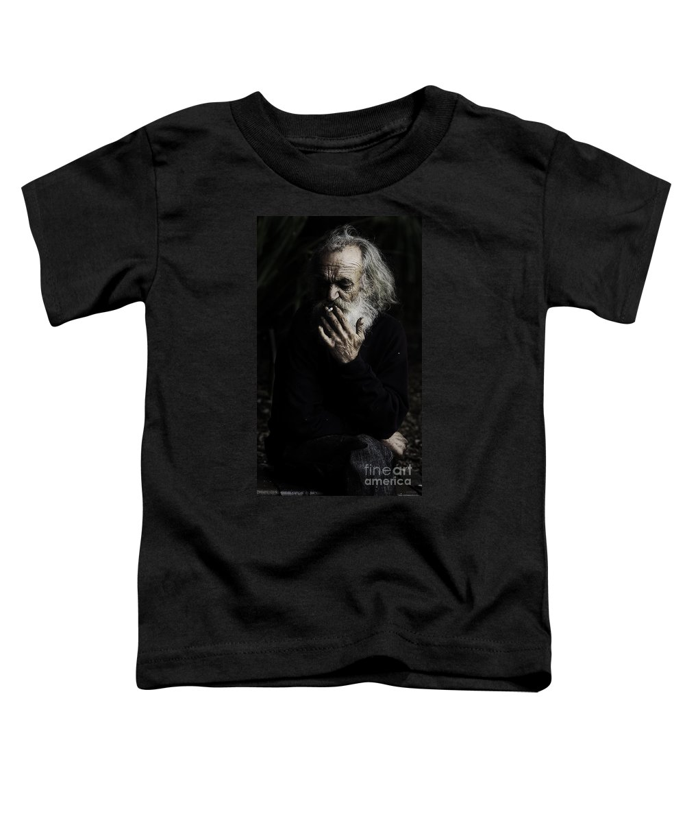 Homeless Male Smoking Smoker Aged Toddler T-Shirt featuring the photograph The Smoker by Sheila Smart Fine Art Photography