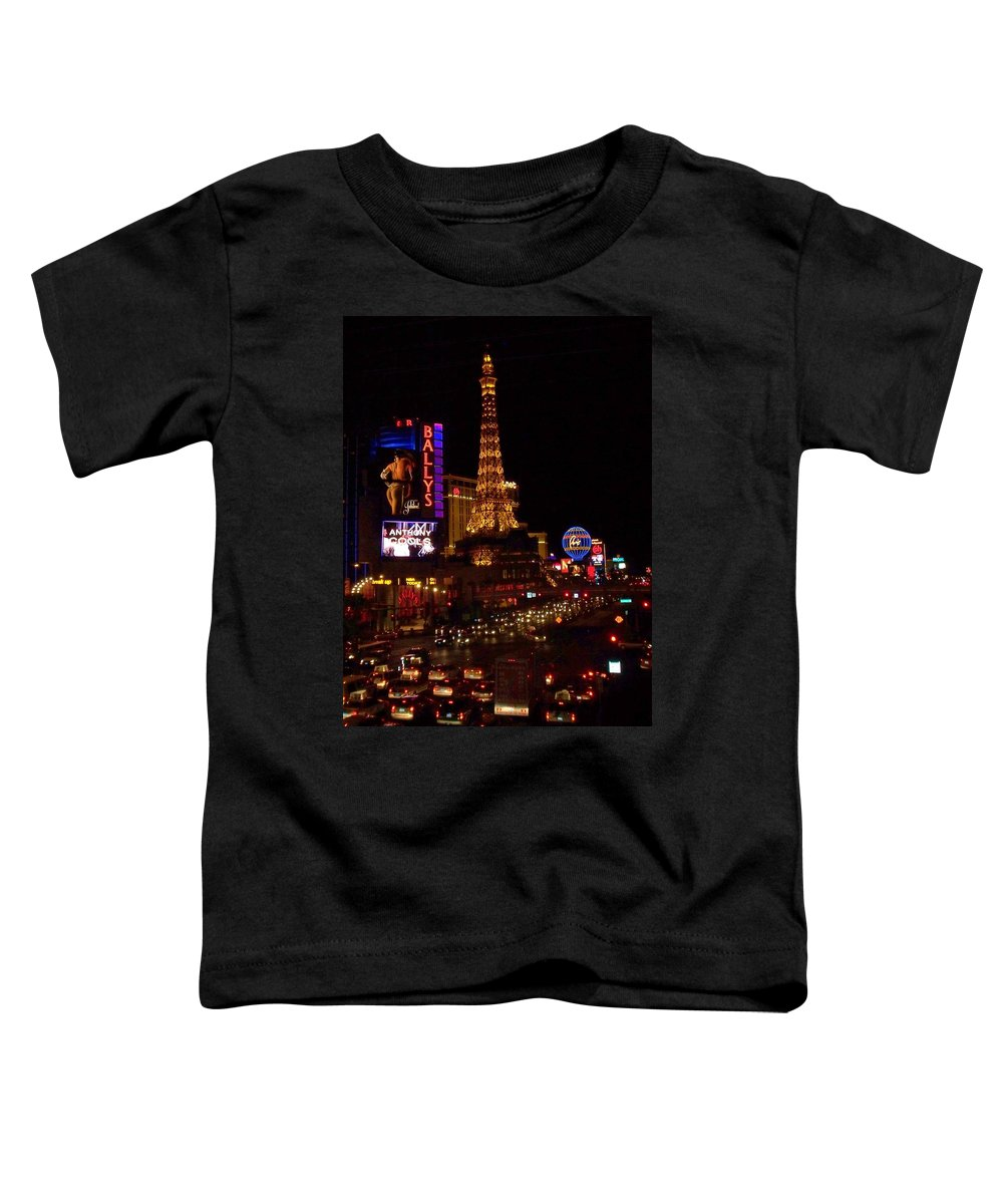 Vegas Toddler T-Shirt featuring the photograph The Strip At Night 2 by Anita Burgermeister