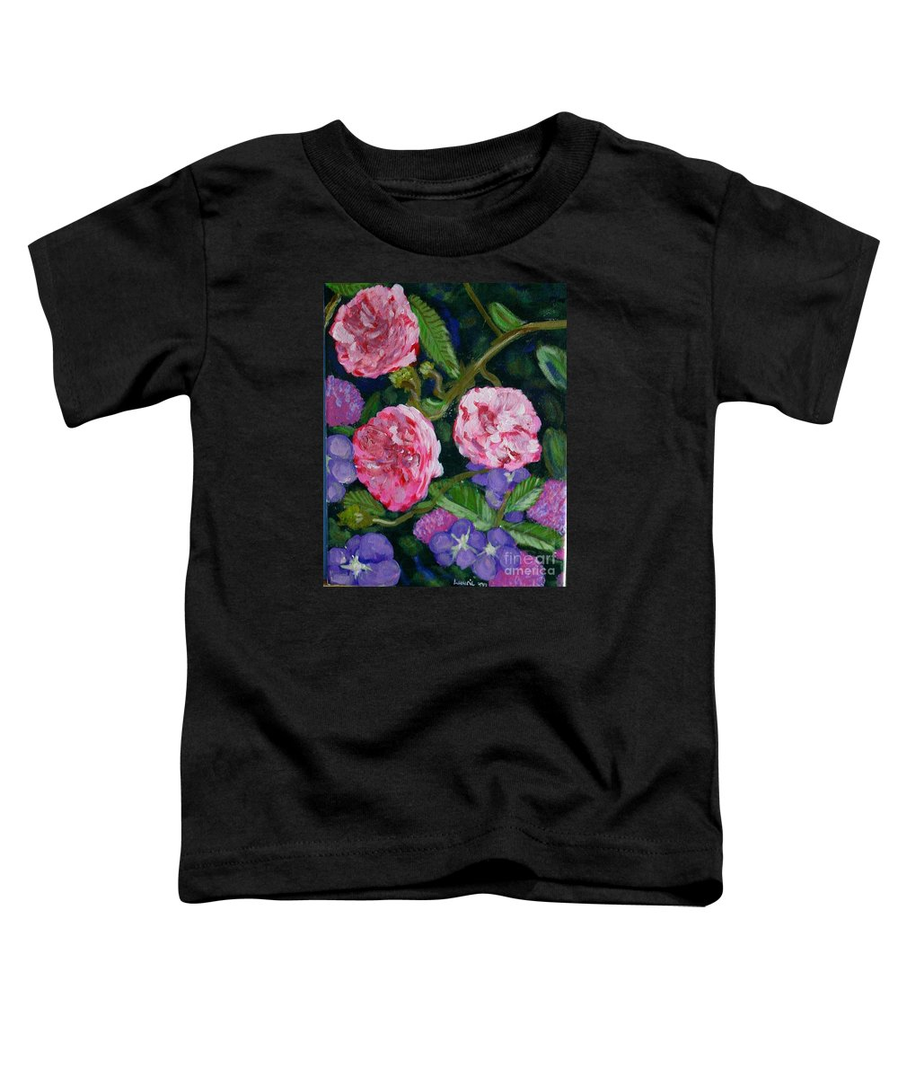 Roses Toddler T-Shirt featuring the painting Three For The Show by Laurie Morgan