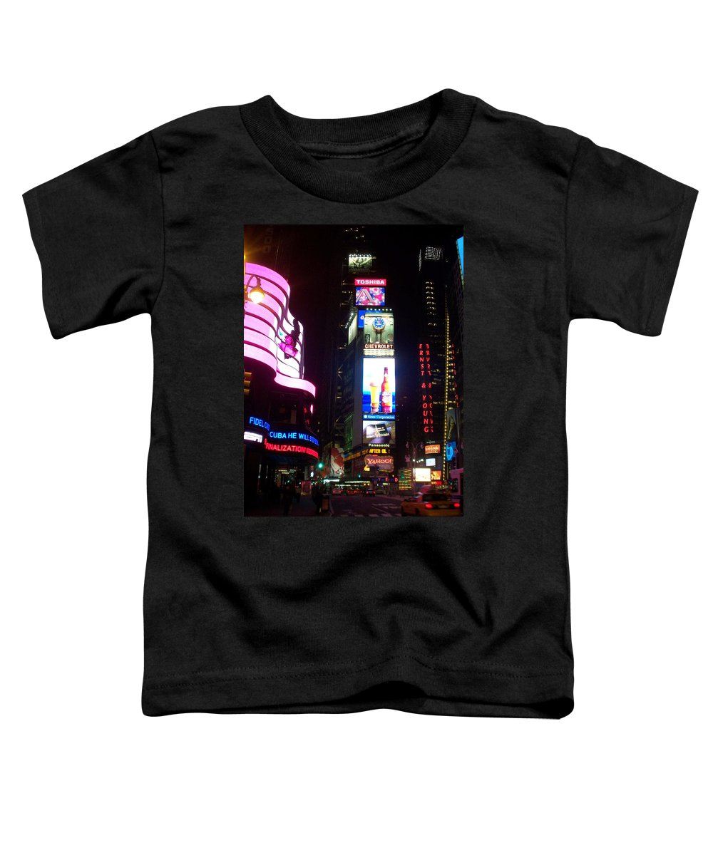 Times Square Toddler T-Shirt featuring the photograph Times Square 1 by Anita Burgermeister