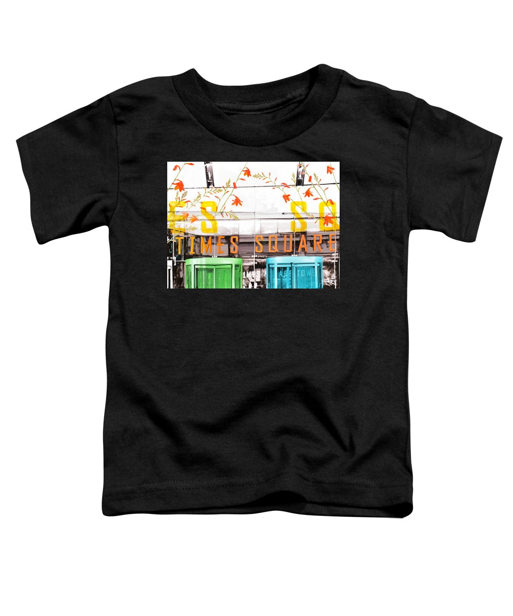 Ny Toddler T-Shirt featuring the painting Times Square Tower by Jean Pierre Rousselet