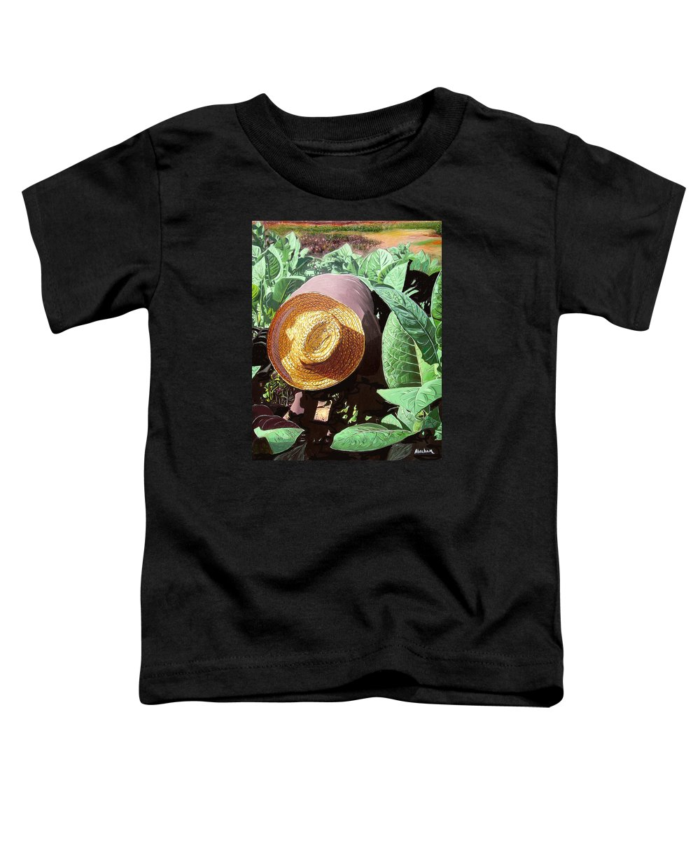 Tobacco Toddler T-Shirt featuring the painting Tobacco Picker by Jose Manuel Abraham