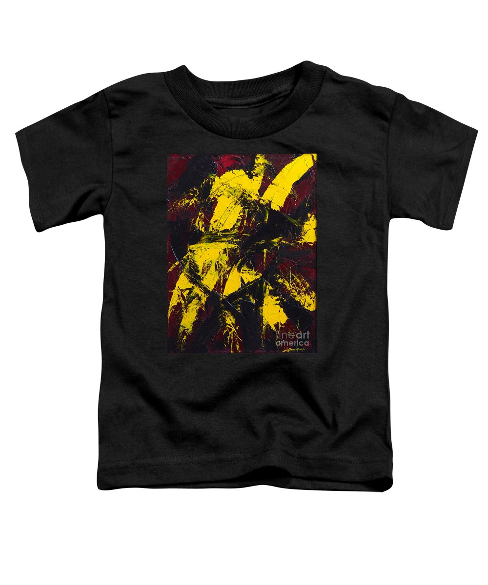 Abstract Toddler T-Shirt featuring the painting Transitions With Yelllow And Black by Dean Triolo