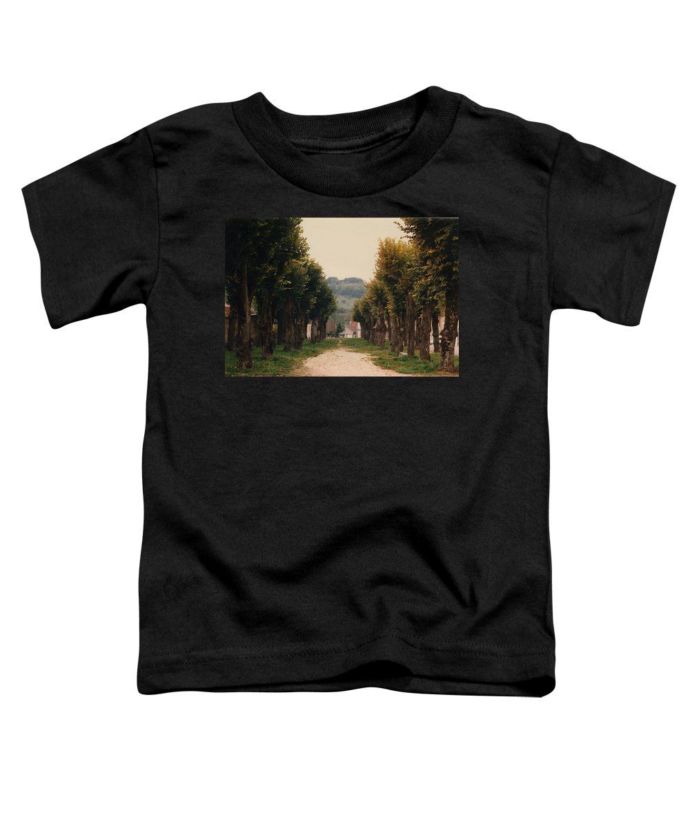 Trees Toddler T-Shirt featuring the photograph Tree Lined Pathway In Lyon France by Nancy Mueller