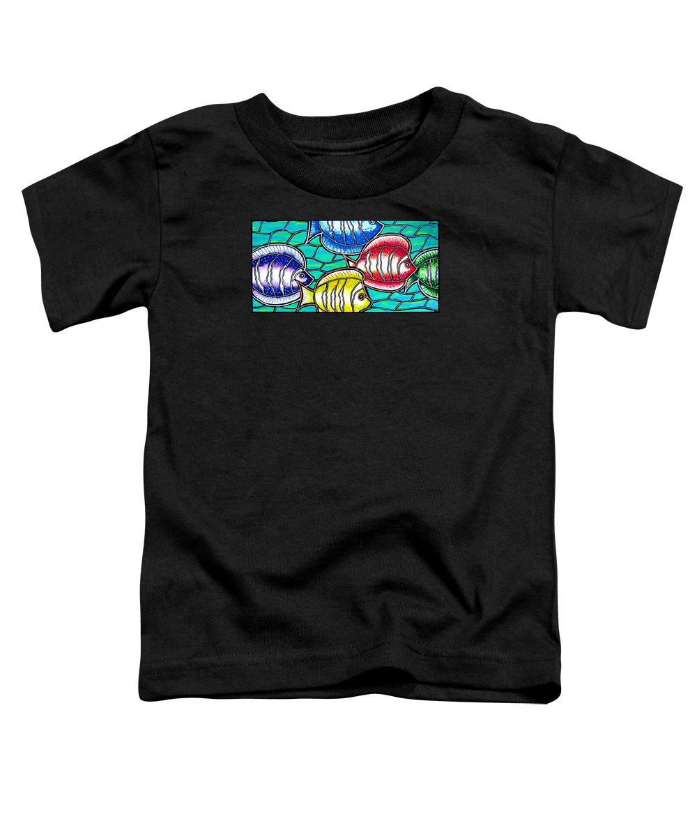Fish Toddler T-Shirt featuring the painting Tropical Fish Swim by Jim Harris