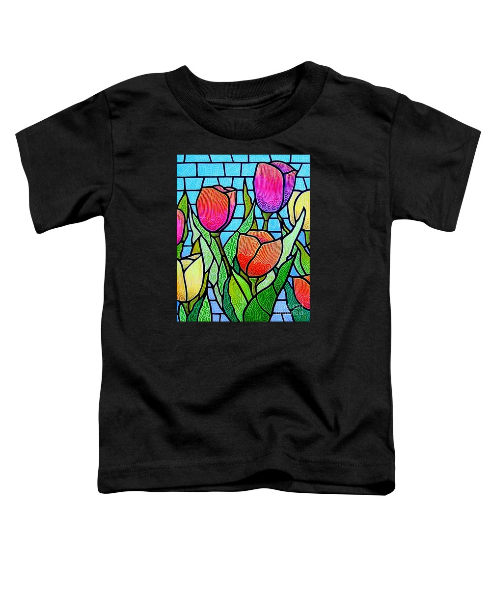Tulips Toddler T-Shirt featuring the painting Tulip Garden by Jim Harris