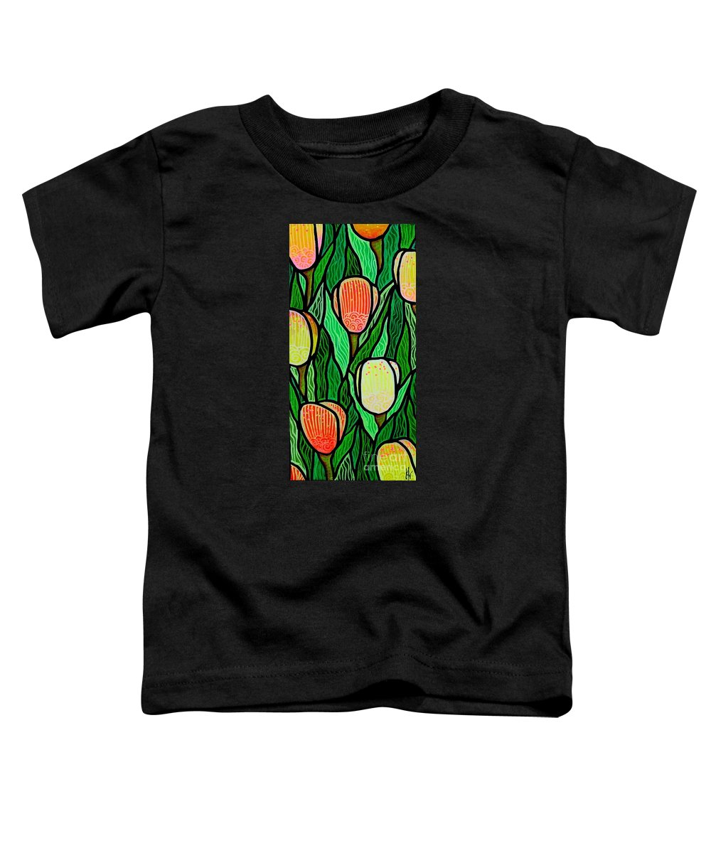 Tulips Toddler T-Shirt featuring the painting Tulip Joy 2 by Jim Harris