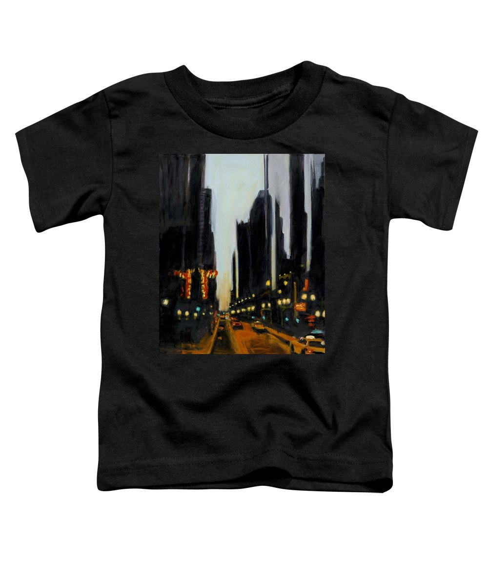 Rob Reeves Toddler T-Shirt featuring the painting Twilight In Chicago by Robert Reeves