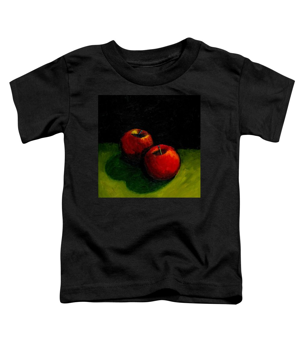 Red Toddler T-Shirt featuring the painting Two Red Apples Still Life by Michelle Calkins