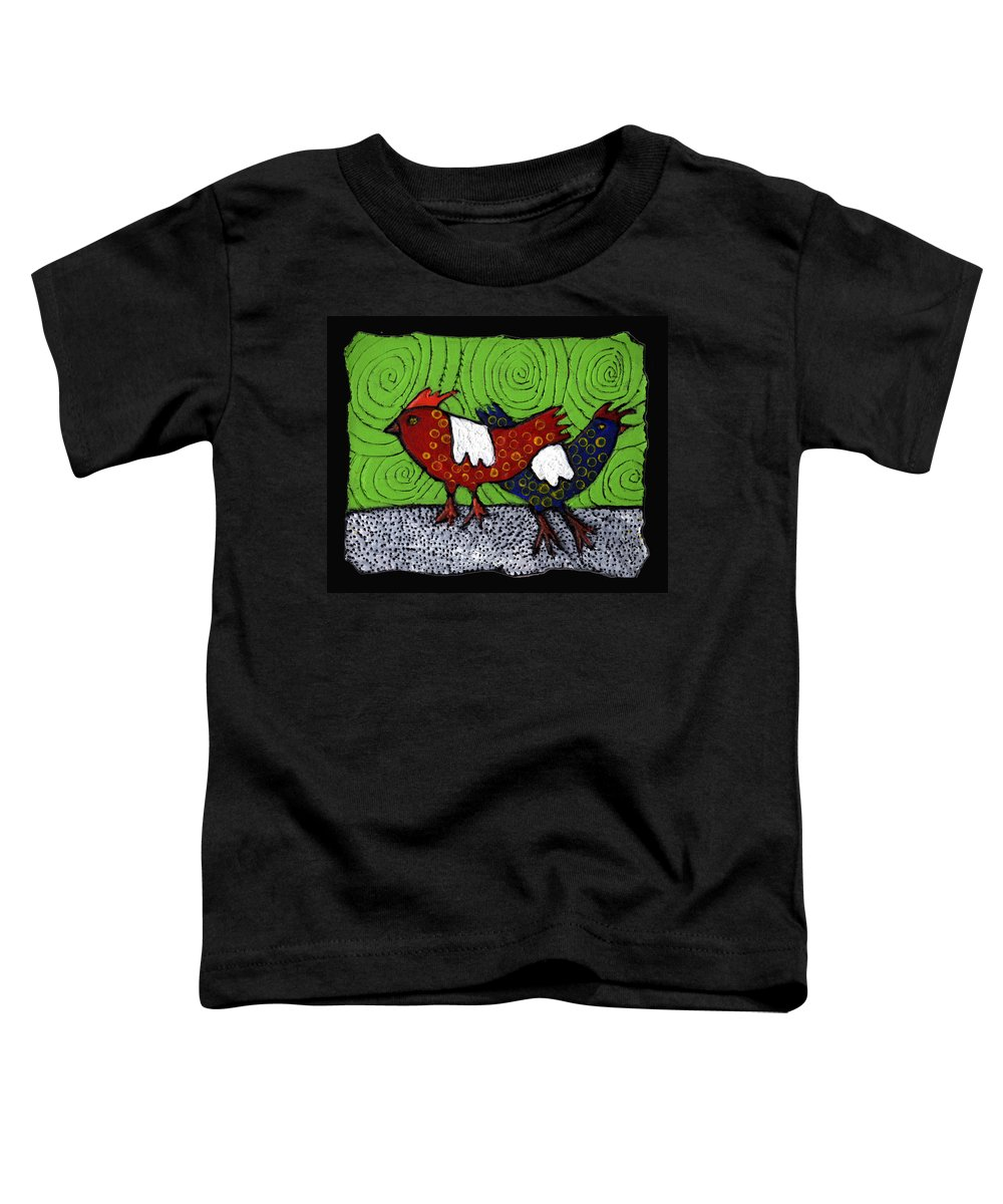 Chickens Toddler T-Shirt featuring the painting Two Roosters by Wayne Potrafka