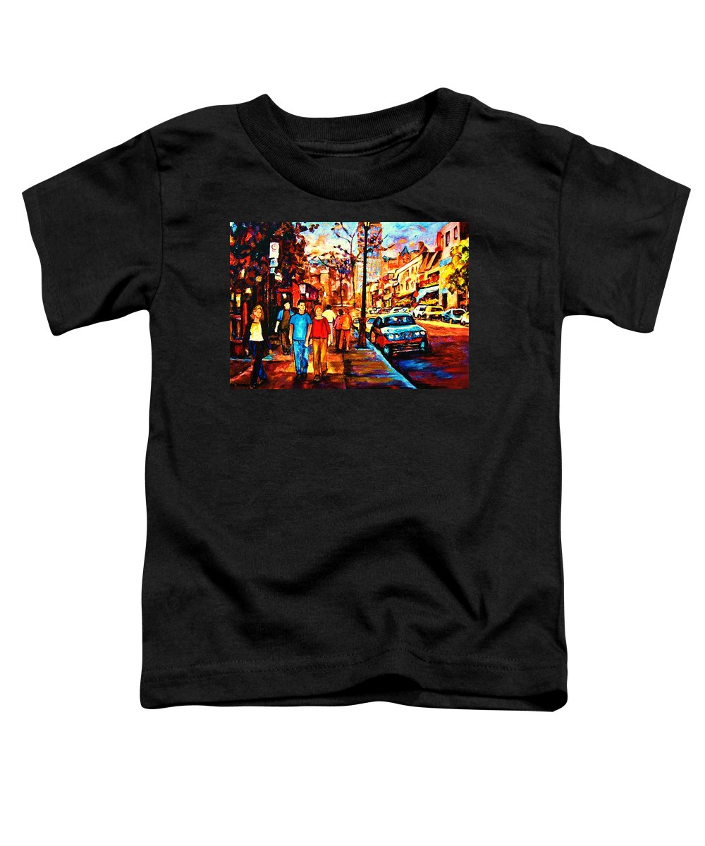 Montrealstreetscene Toddler T-Shirt featuring the painting Under A Crescent Moon by Carole Spandau