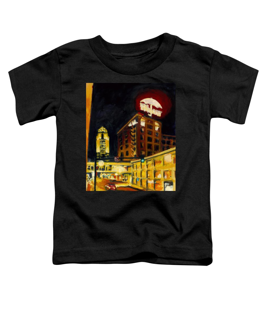 Rob Reeves Toddler T-Shirt featuring the painting Untitled In Red And Gold by Robert Reeves