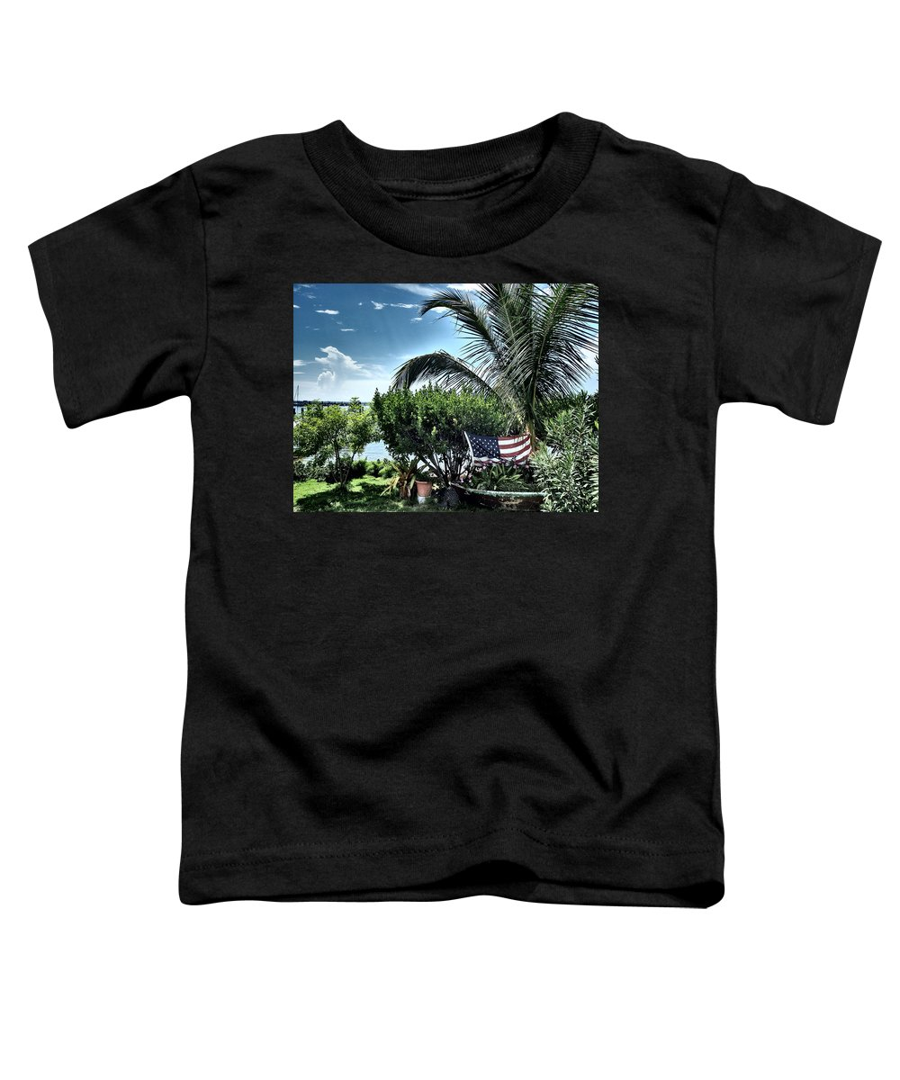 Amerian Flag Toddler T-Shirt featuring the photograph US Flag in the Abaco Islands, Bahamas by Cindy Ross