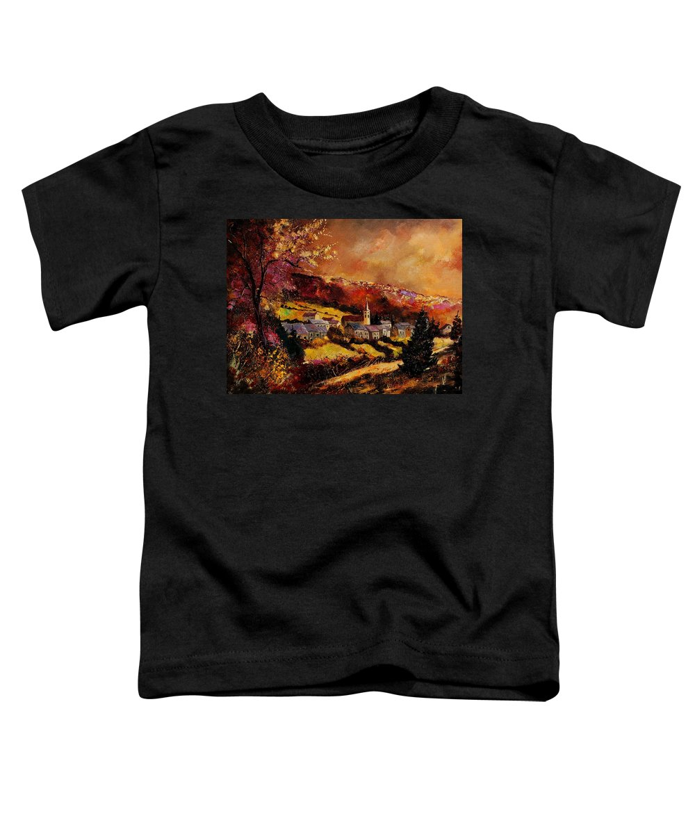 River Toddler T-Shirt featuring the painting Vencimont Village Ardennes by Pol Ledent