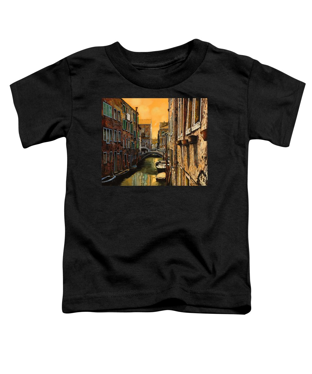 Venice Toddler T-Shirt featuring the painting Venezia Al Tramonto by Guido Borelli