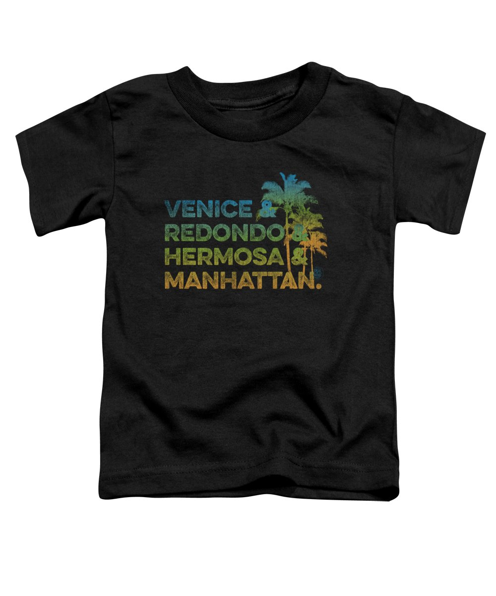 Venice Toddler T-Shirt featuring the digital art Venice And Redondo And Hermosa And Manhattan by SoCal Brand