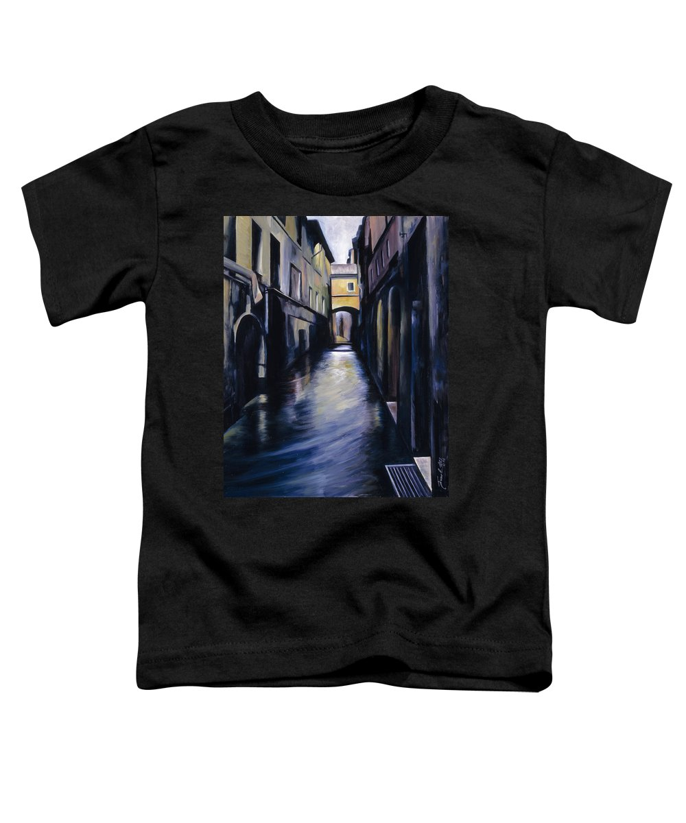 Street; Canal; Venice ; Desert; Abandoned; Delapidated; Lost; Highway; Route 66; Road; Vacancy; Run-down; Building; Old Signage; Nastalgia; Vintage; James Christopher Hill; Jameshillgallery.com; Foliage; Sky; Realism; Oils Toddler T-Shirt featuring the painting Venice by James Christopher Hill