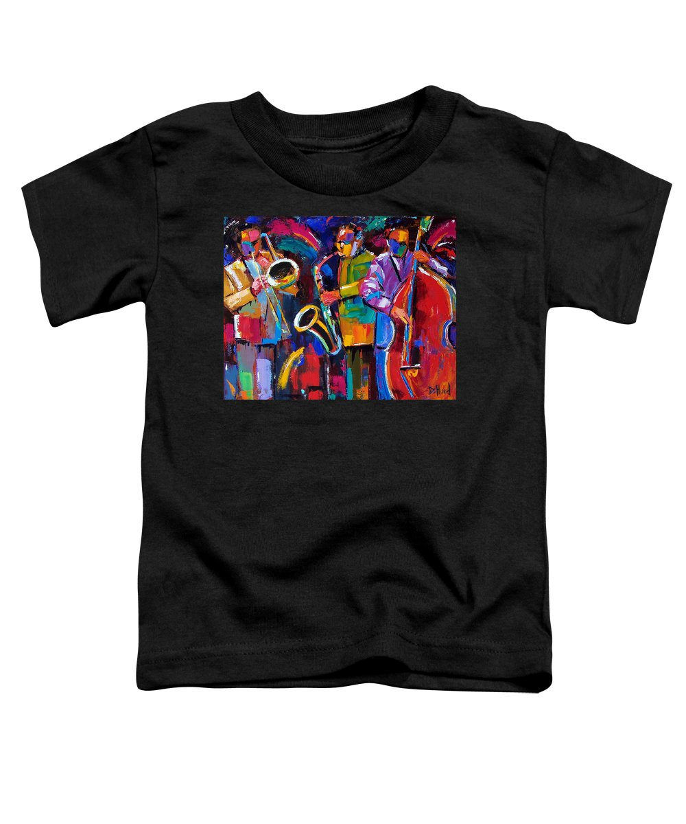Jazz Toddler T-Shirt featuring the painting Vibrant Jazz by Debra Hurd