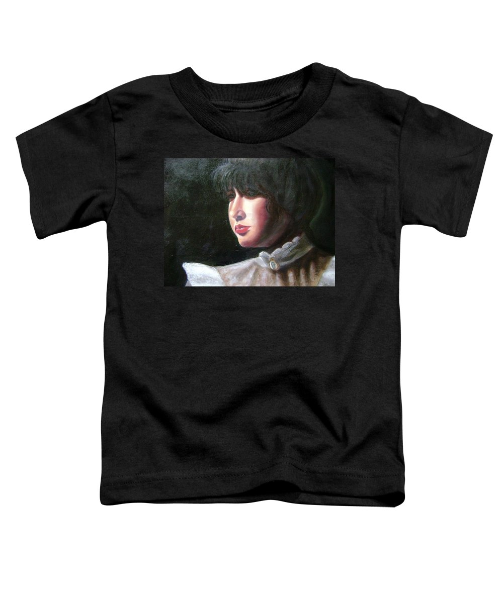 Girl In White Blouse Toddler T-Shirt featuring the painting Victorian Blouse by Toni Berry