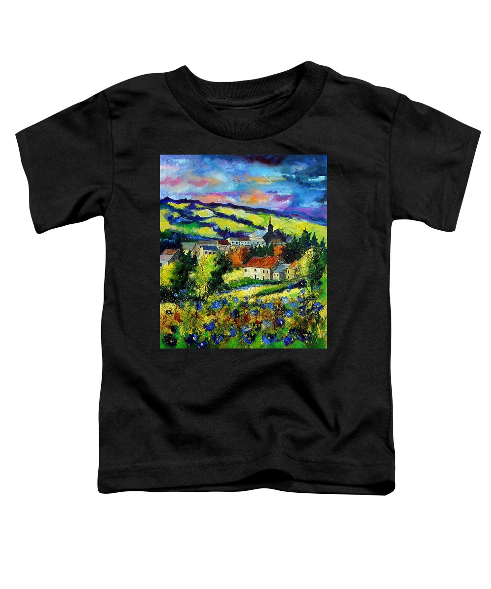 Landscape Toddler T-Shirt featuring the painting Village And Blue Poppies by Pol Ledent