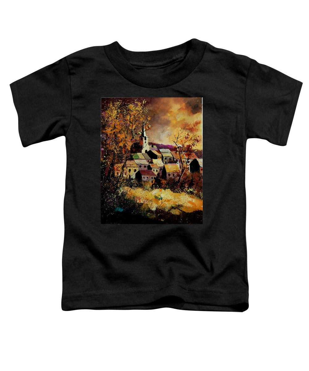 River Toddler T-Shirt featuring the painting Village In Fall by Pol Ledent
