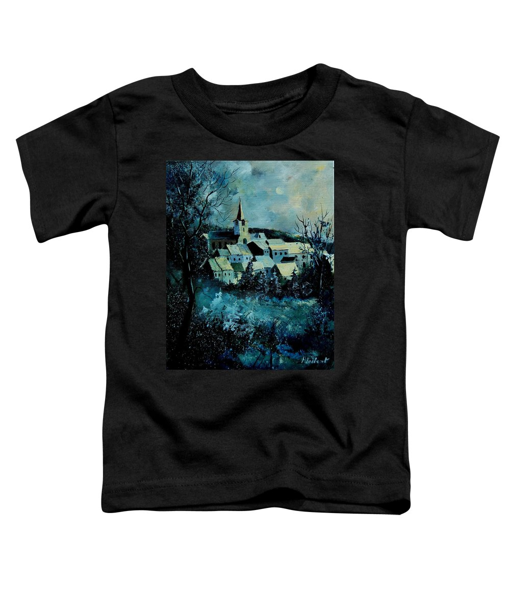 River Toddler T-Shirt featuring the painting Village In Winter by Pol Ledent