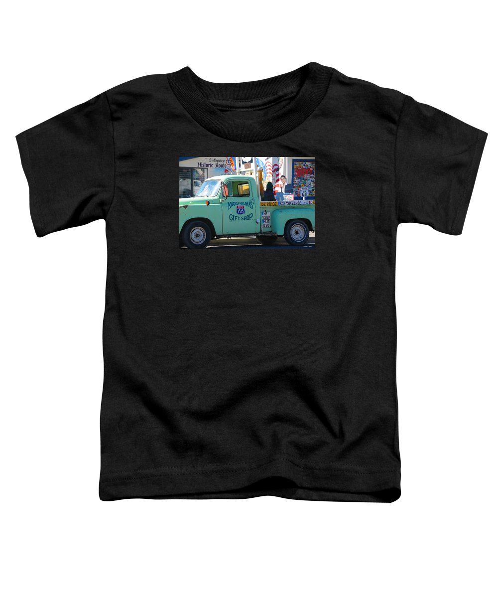 Gift Shop Toddler T-Shirt featuring the photograph Vintage Truck with Elvis on Historic Route 66 by Victoria Oldham